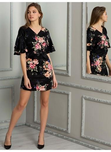 Kolları Volanlı Mini Elbise-LC Waikiki